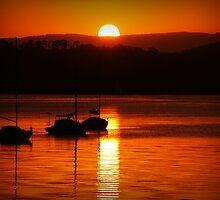 Sunset boats by Wanagi Zable-Andrews