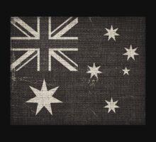 Old Australia Flag Burlap Linen Rustic Jute by Nhan Ngo