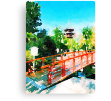 Kawasaki Daishi Bridge and Five-Storied Pagoda Canvas Print