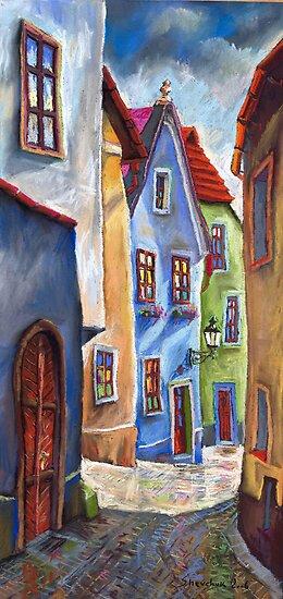 Cesky Krumlov Old Street 1 by Yuriy Shevchuk