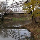 Chapel Bridge over Sugar Creek-Reflection by mnkreations