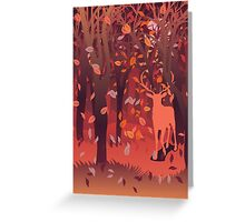 Silhouette of a stag in the forest at the autumn time 2 Greeting Card