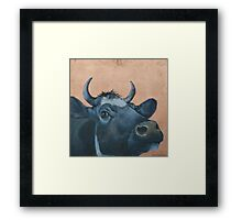 """The Grass Is Always Greener..."" Cow Gazing Over Fence Framed Print"