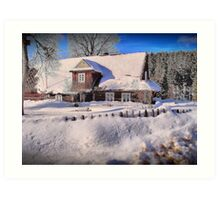 Sunny day after a snow storm  Art Print