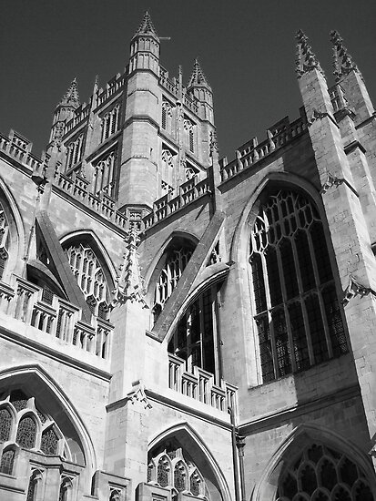 Bath Cathedral B/W by CherylBee