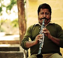 Indian Clarinet Moustache Player by Phil Gribbon