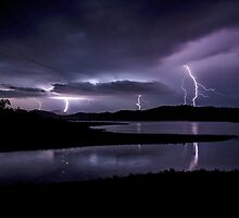 Lightning over the weir by Sally Bruning
