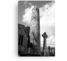 rock of cashel in black and white Canvas Print