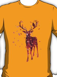 Silhouette of a deer with fall forest inside T-Shirt