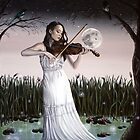 Reverie - Girl playing Violin in Moonlight by plantiebee