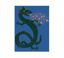 Flower-breathing Dragon Art Print