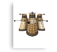 Golden Dalek Trio Canvas Print
