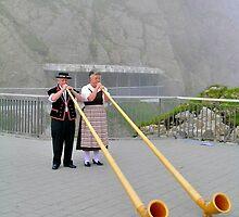 Alphorn Player, Pilatus Switzerland by itchingink