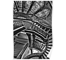 Old Style Workmanship  (Monochrome Version) - The Grand Staircase, Queen Victoria Building - The HDR Experience Poster