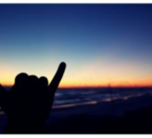 hang loose sunset Sticker