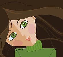 Green eyes portrait by oksancia