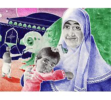 Bic Ball Point Pen Drawing: Compassion on a Pakistani Galactic Scale Photographic Print
