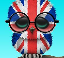 Nerdy British Baby Owl on a Branch by Jeff Bartels
