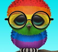 Nerdy Gay Pride Rainbow Baby Owl on a Branch by Jeff Bartels