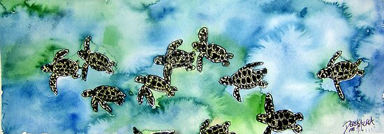Baby Sea Turtles Painting by derekmccrea