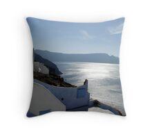 Santorini Sun Throw Pillow