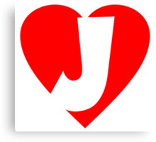 I love J - Heart J - Heart with letter J Canvas Print