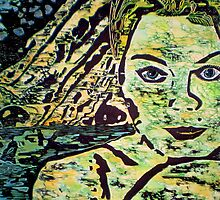 "Reflective Girl - WOODCUT PRINT by Belinda ""BillyLee"" NYE (Printmaker)"