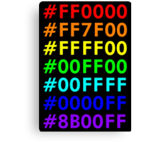 Rainbow HTML color codes Canvas Print