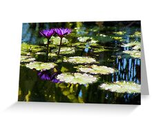 Waterlilies - Sunny Green and Purple Impressions Greeting Card
