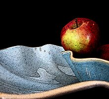 Apples in Blue by Leslie Wood