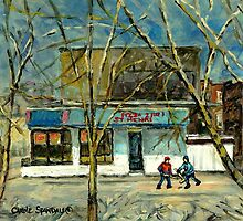 HOCKEY PRACTICE IN ST.HENRI COLD DAY IN MONTREAL NEAR THE PIZZERIA by Carole  Spandau