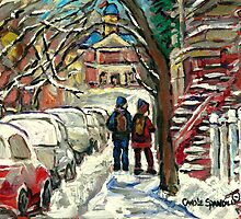 WALKING BY SNOWY RED STAIRCASE MONTREAL MCGILL UNIVERSITY by Carole  Spandau