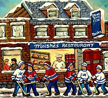 MOISHE'S RESTAURANT MONTREAL AND HOCKEY GAME PAINTINGS by Carole  Spandau