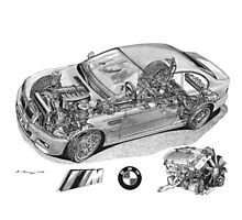 BMW M3 (E46) Cutaway Text removed Photographic Print