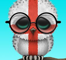 Nerdy English Baby Owl on a Branch by Jeff Bartels