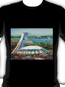 MONTREAL OLYMPIC STADIUM MONTREAL SKYLINE PAINTINGS T-Shirt