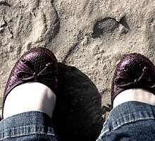 love is purple shoes on the beach by picassogirl56