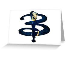 B - Buffy dark Blue Greeting Card