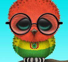 Nerdy Bolivian Baby Owl on a Branch by Jeff Bartels