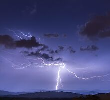 Lightning Strike to Ground Featuring Anvil Crawlers by glennsphotos