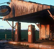Sunset On An Abandoned Gas Station by Rodney Williams