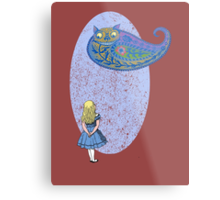 Alice and the Cheshire Paisley Metal Print
