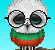 Nerdy Bulgarian Baby Owl on a Branch by Jeff Bartels