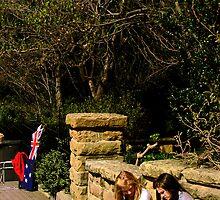 Two Aussie Girls and The Australian Flag by Karen Topacio