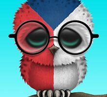 Nerdy Czech Republic Baby Owl on a Branch by Jeff Bartels