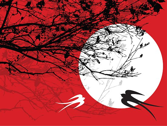Oriental Swallows In Moonlight  by fatfatin