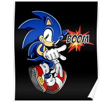 Sonic the boom hedgehog - on black Poster