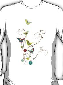 Colorful Whimsical Summer Birds & Swirls T-Shirt