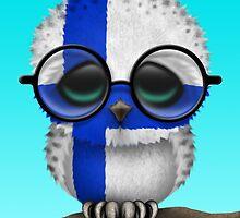 Nerdy Finnish Baby Owl on a Branch by Jeff Bartels