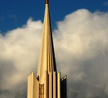 Jordan River Temple Spire at Sunset by Ryan Houston